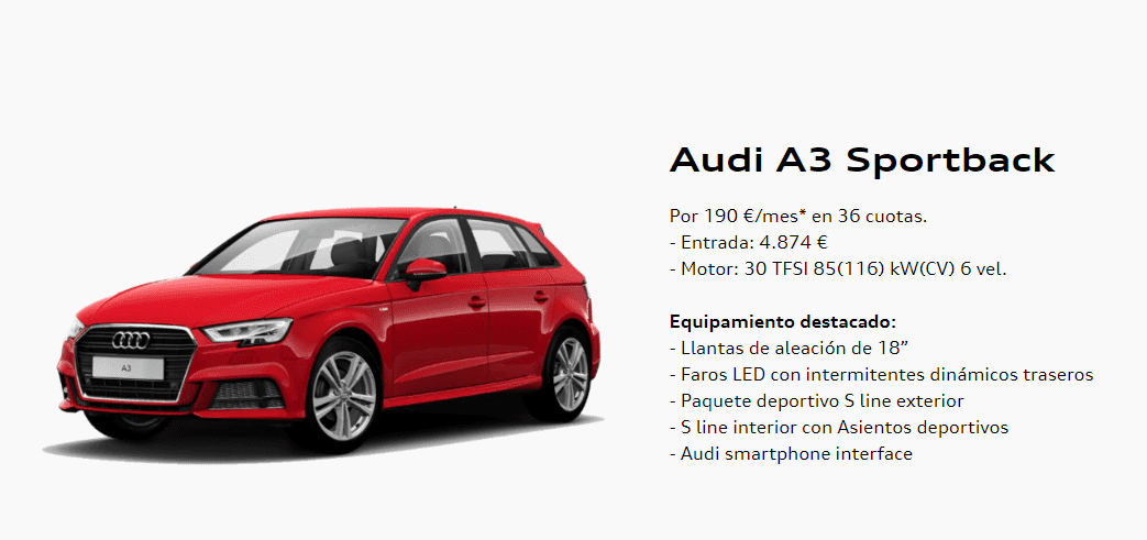 Audi A3 Sportback por 190€ al mes*