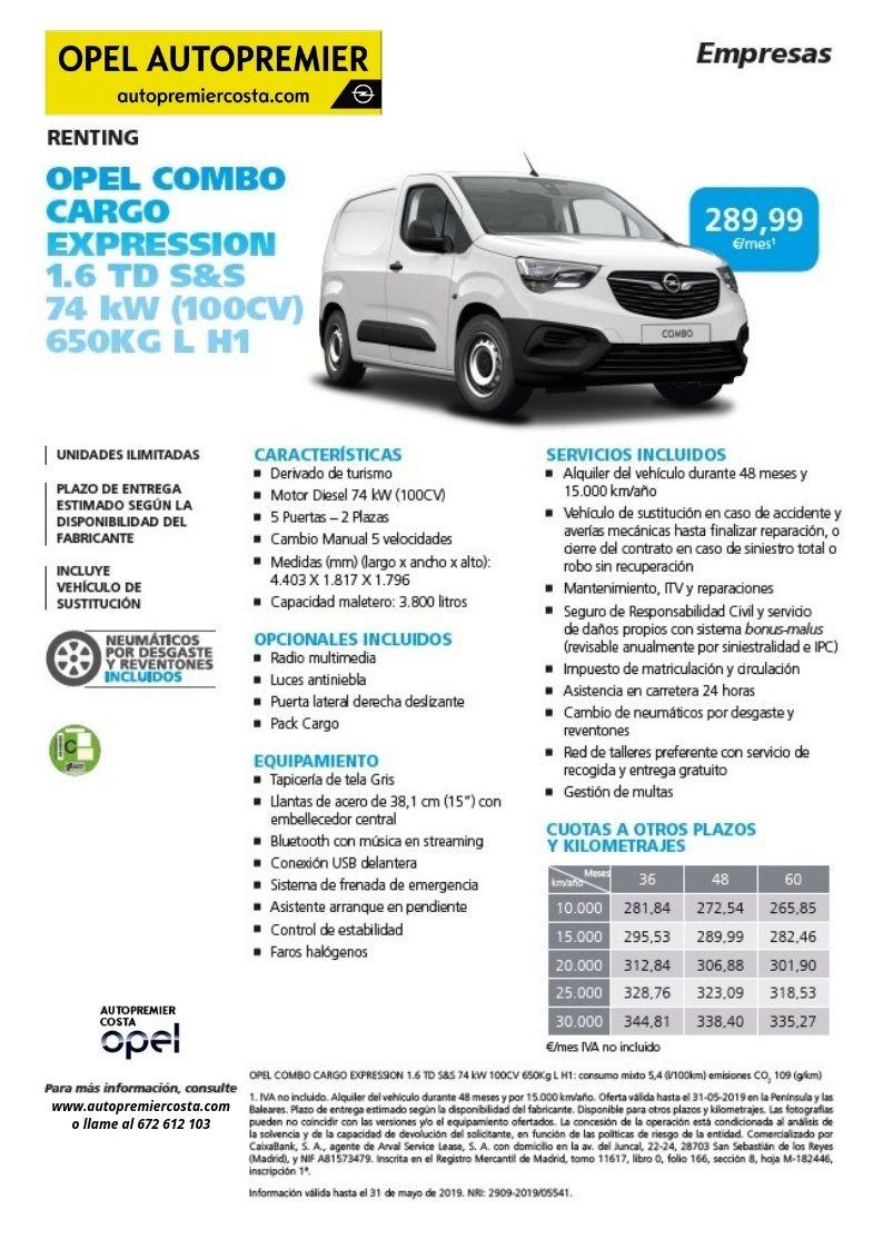 Opel Combo Cargo por 289,99€/mes con el programa Renting para empresas