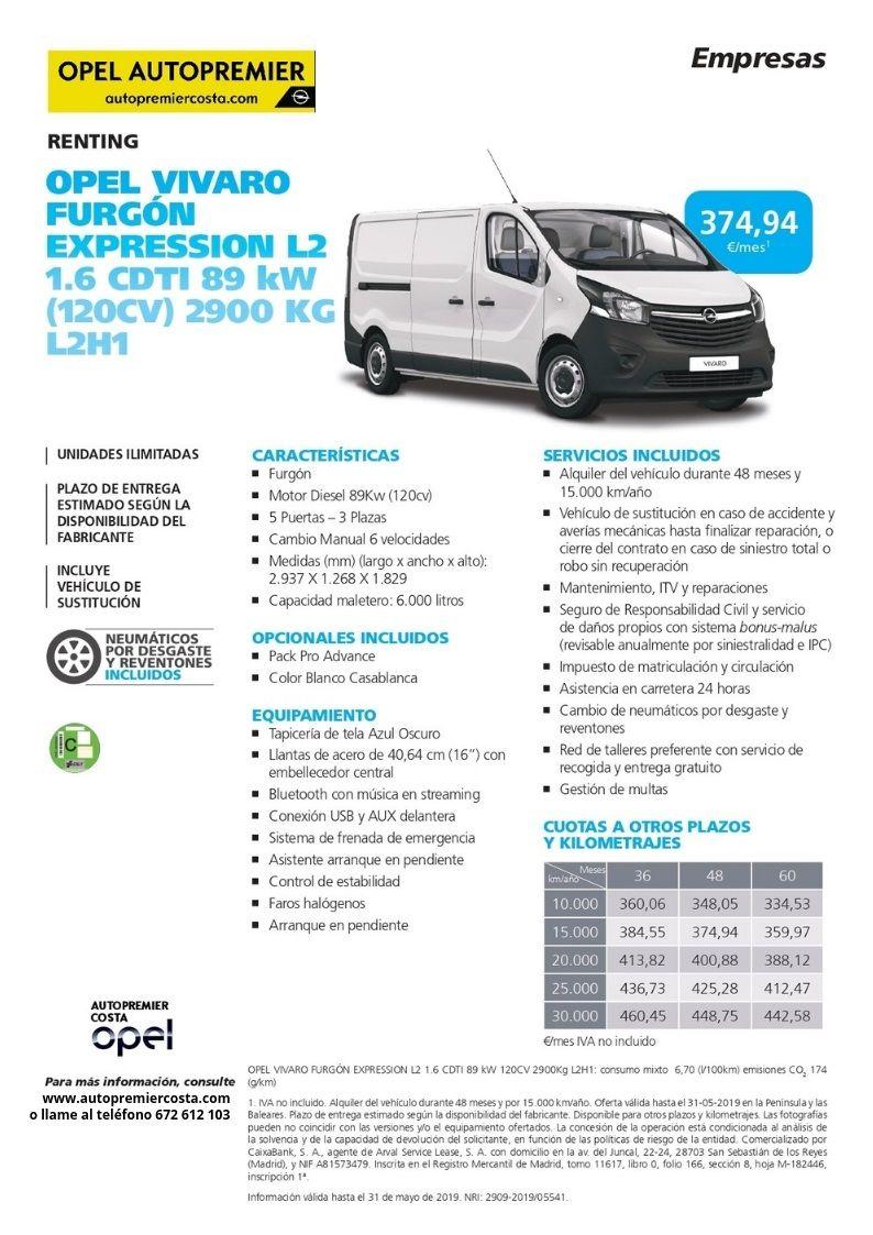 Opel Vivaro por 374,94/mes