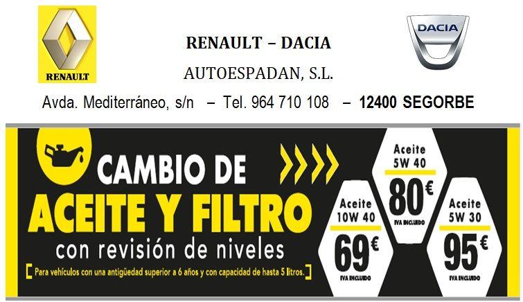 OFERTA ESPECIAL CAMBIO DE ACEITE Y FILTRO CON REVISION DE NIVELES