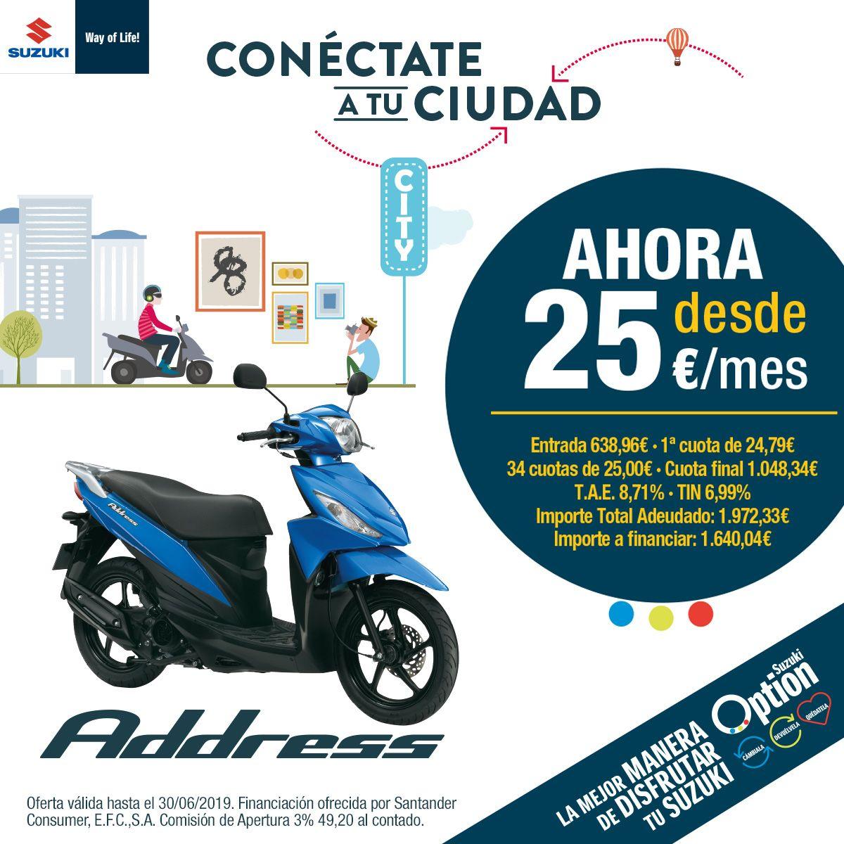 Nueva Suzuki Address 2019.  Conéctate a tu ciudad. Ahora por 25€ al mes