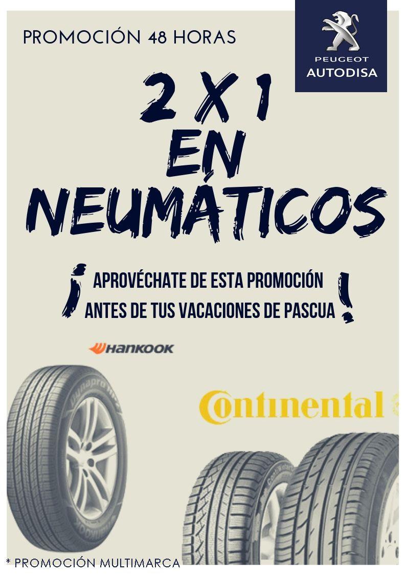 2x1 en neumáticos Hankook y Continental.