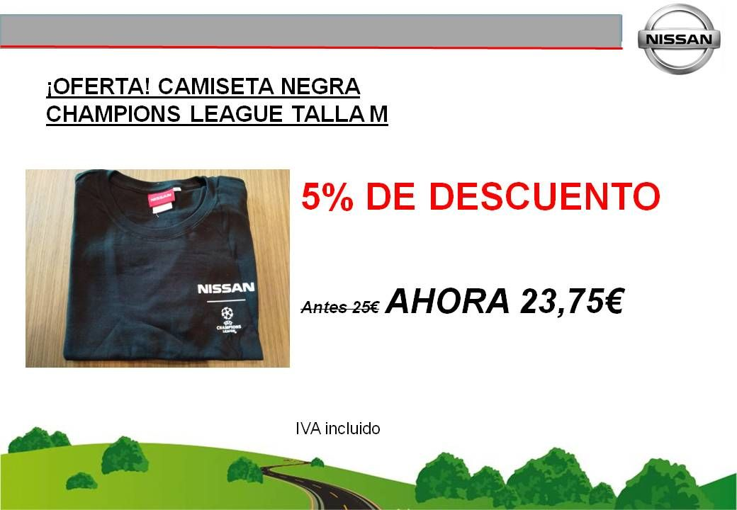 ¡OFERTA! CAMISETA NEGRA CHAMPIONS LEAGUE TALLA M - 23,75€