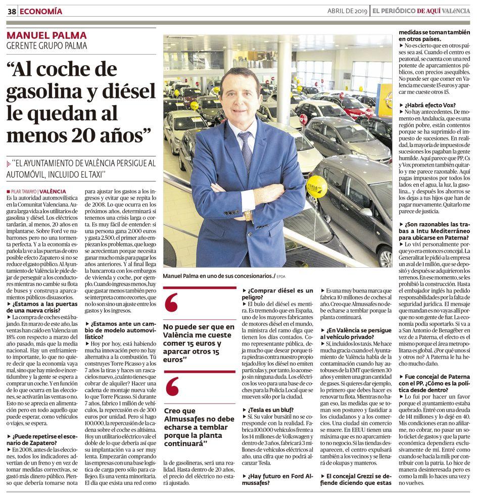Al coche de gasolina y diésel le quedan al menos 20 años» – Manuel Palma en «DE AQUÍ Valencia