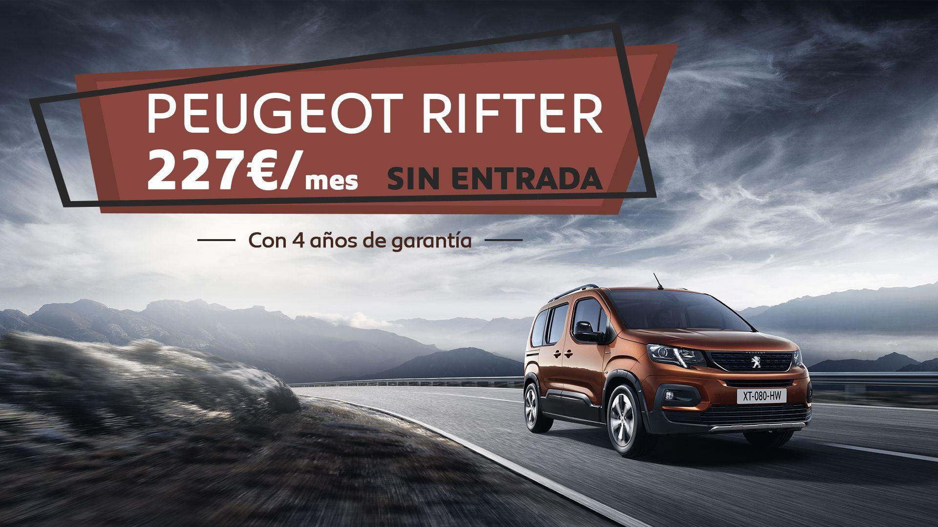 Atrévete a conducir el nuevo Peugeot Rifter por 227€/mes y CUATRO años de garantía