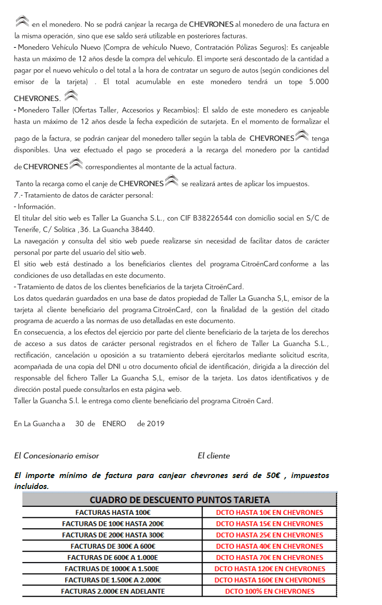 evolucion en el contrato de Citroen Card para este año 2019