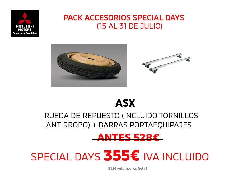 SPECIAL DAYS RUEDA DE REPUESTO (INCLUIDO TORNILLOS ANTIRROBO) + BARRAS PORTAEQUIPAJES