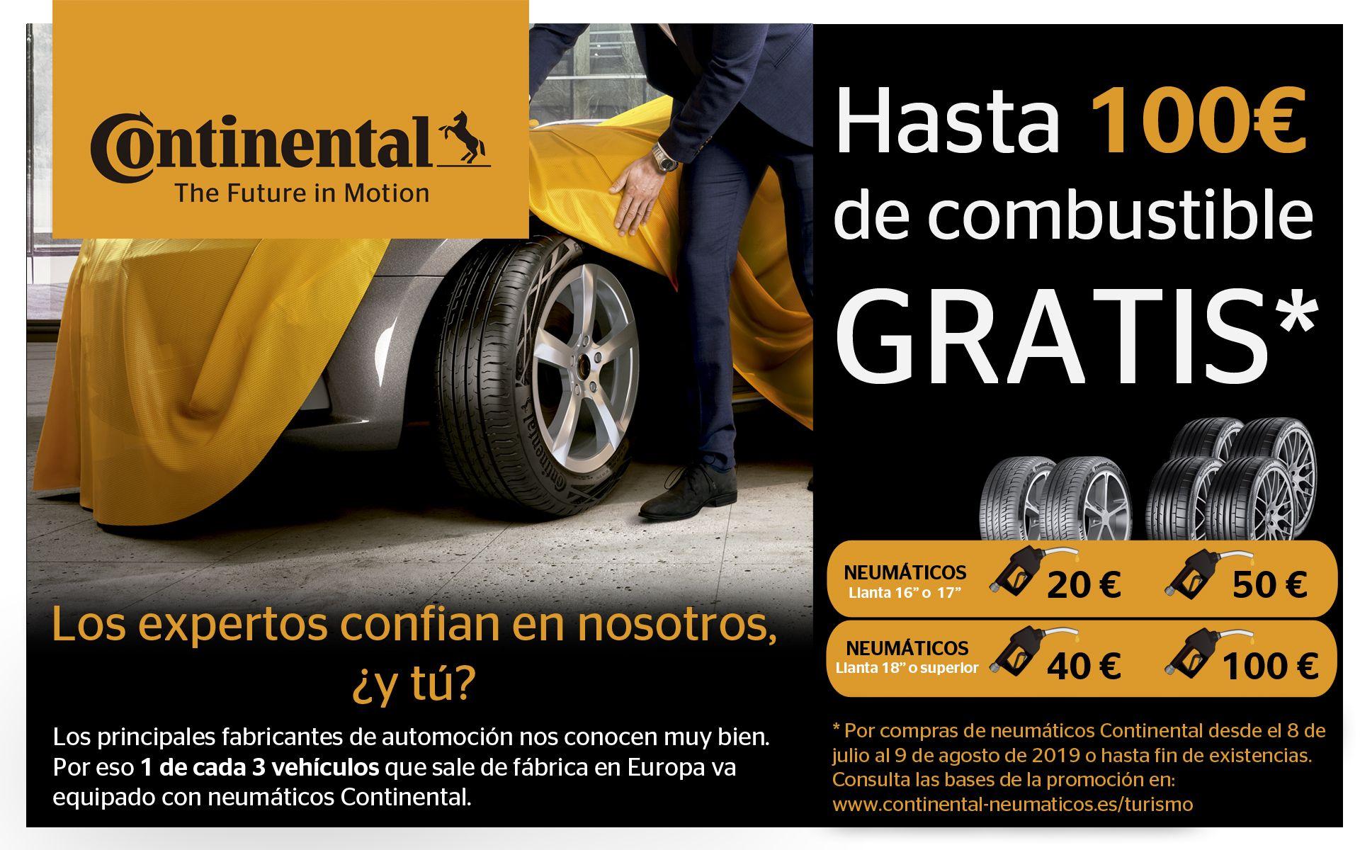 Cambia de Ruedas y llena tu deposito | 2x1 en Continental y hasta 100€ en Combustible