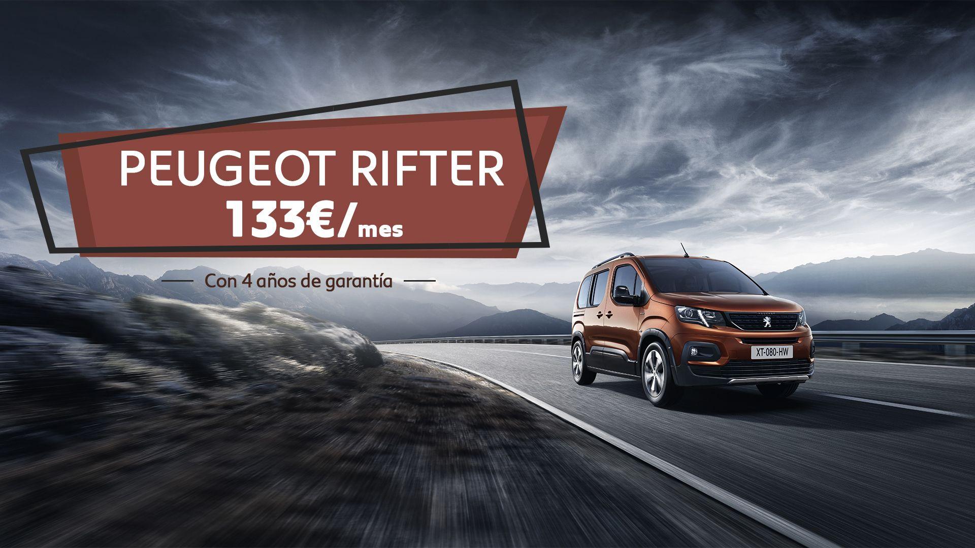 Conduce el nuevo  Peugeot Rifter por sólo 133€/mes y CUATRO años de garantía