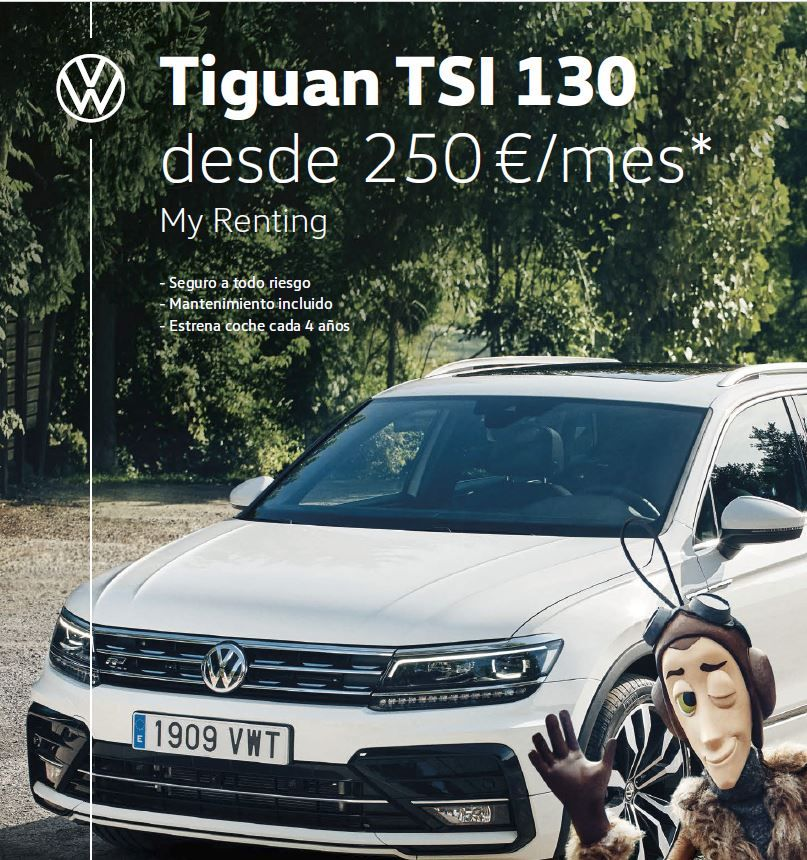 Volkswagen Tiguan TSI 130CV desde 250€/mes* Con Volkswagen My Renting