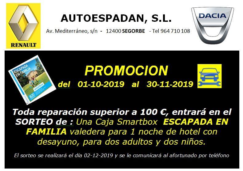 """PROMOCION  del 01-10-2019  al  30-11-2019 - SORTEO Caja Smartbox  """"ESCAPADA EN FAMILIA"""""""