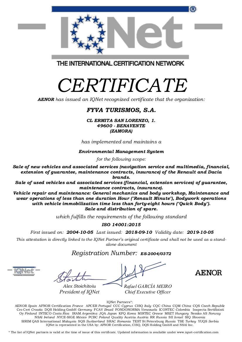 CERTIFICADO ISO14001:2015