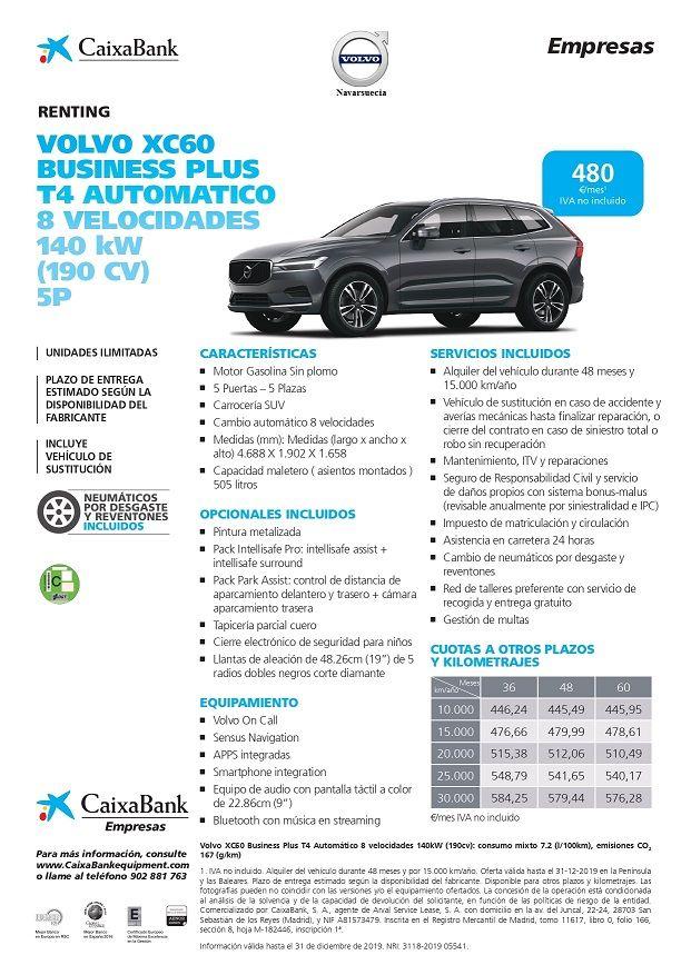 Volvo XC60 Business Plus T4 Autómatico 8 Velocidades  (190 CV) , CUOTA RENTING 480€/MES