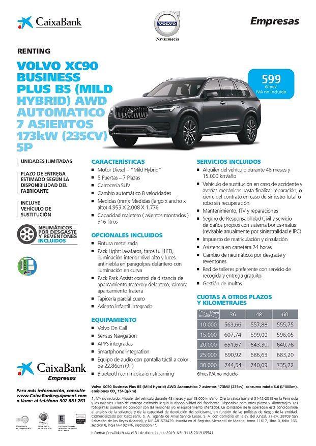Volvo XC90 Business Plus B5 Automático 7 asientos 235cv 5P, CUOTA RENTING 599€/MES