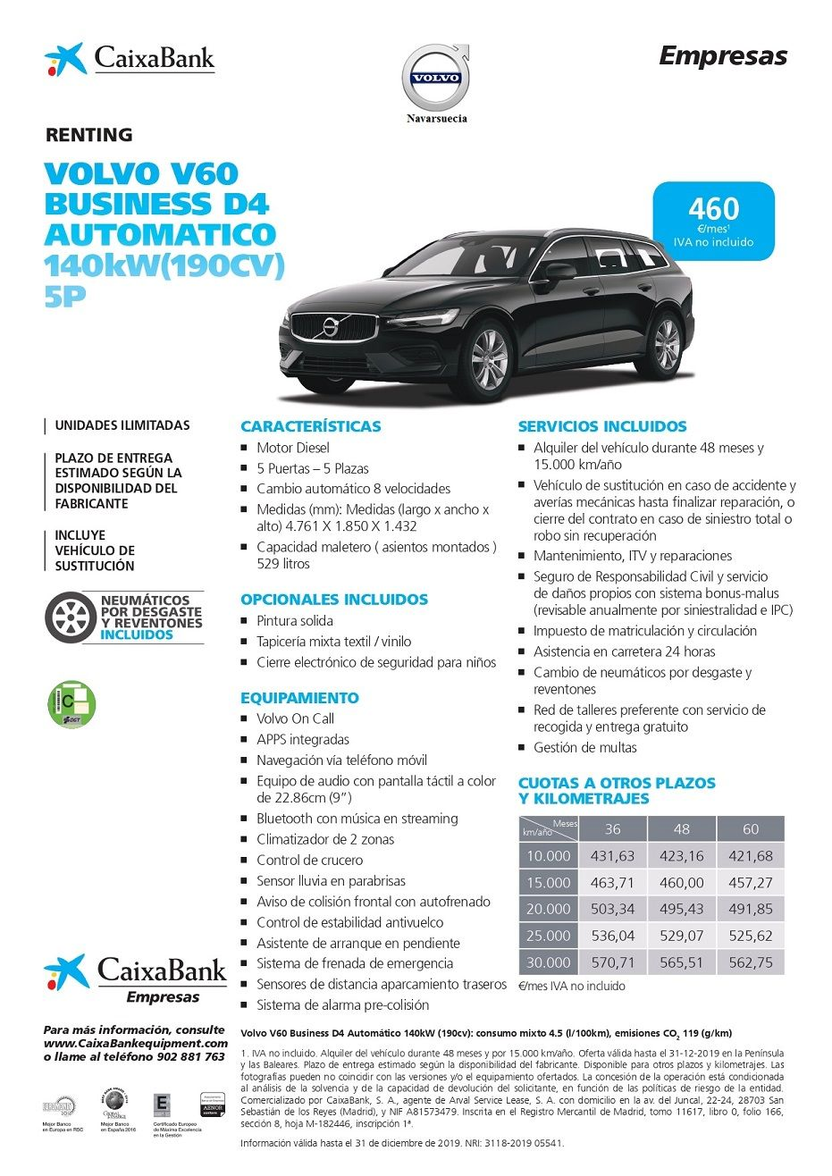 Volvo V60 Business D4 Automático 140kW (190CV) 5P CUOTA RENTING 460€/MES