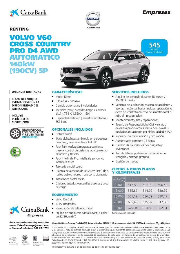 Volvo V60 Cross Country Pro D4 AWD Automático (190CV) 5P CUOTA RENTING 545€/MES