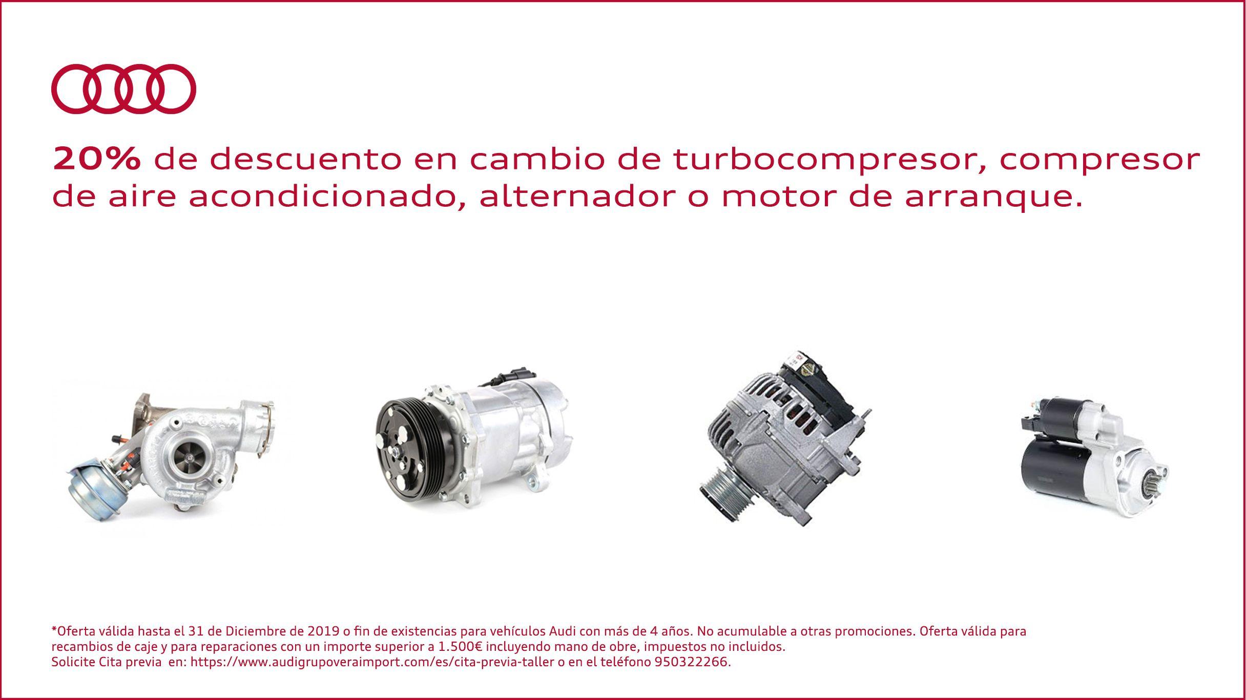 20% descuento en cambio de turbocompresor, compresor de aire acondicionado, alternador o motor de arranque.