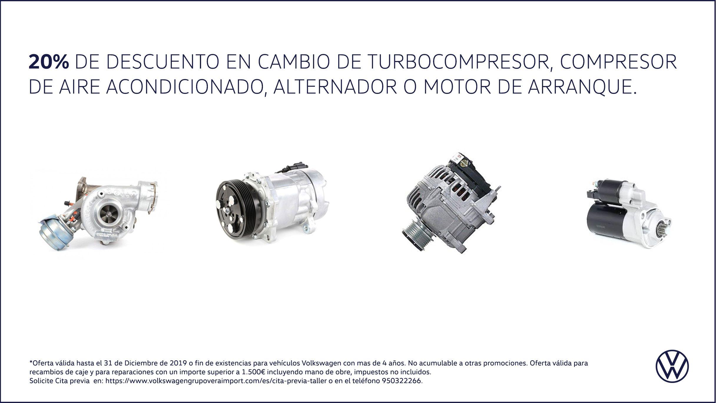 20% descuento en cambio turbocompresor, compresor de aire acondicionado, alternador o motor de arranque.