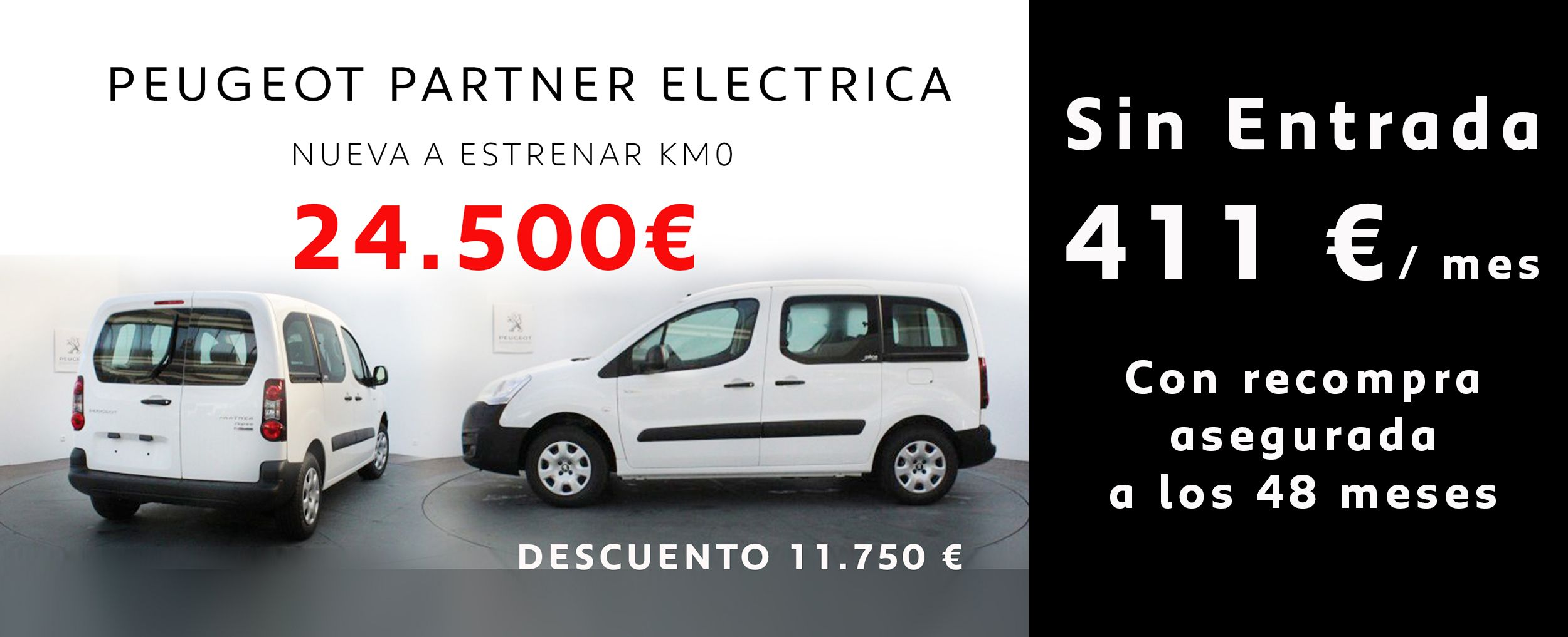 Peugeot Partner eléctrica , sin entrada por 411€ /mes