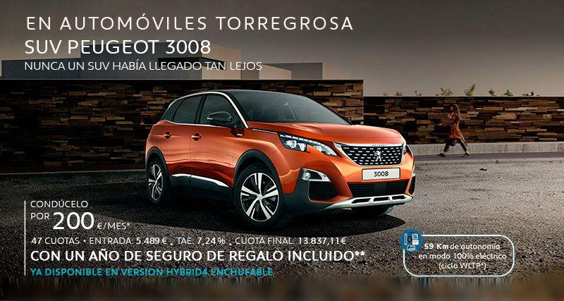 SUV PEUGEOT 3008 por 200€ al mes *