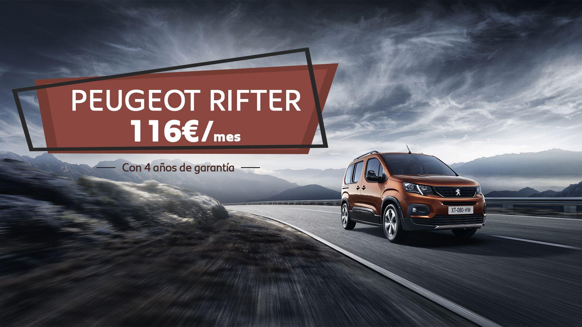 Conduce el nuevo  Peugeot Rifter por sólo 116€/mes y CUATRO años de garantía
