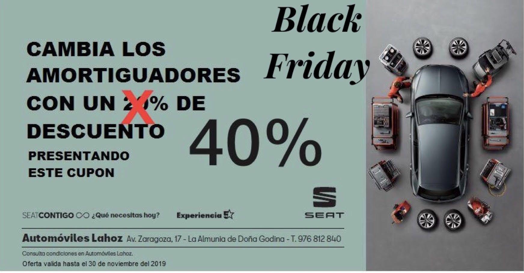 Black Friday ¡  Un 40% de descuento en tus amortiguadores nuevos.