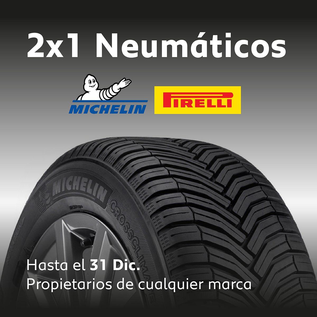 2x1 en neumáticos Michelin y Pirelli