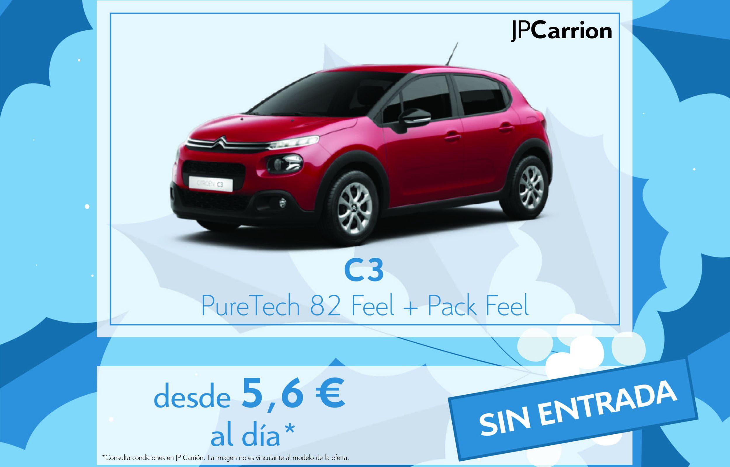 Citroën C3 PureTech 82 Feel por 5,6€ al día.