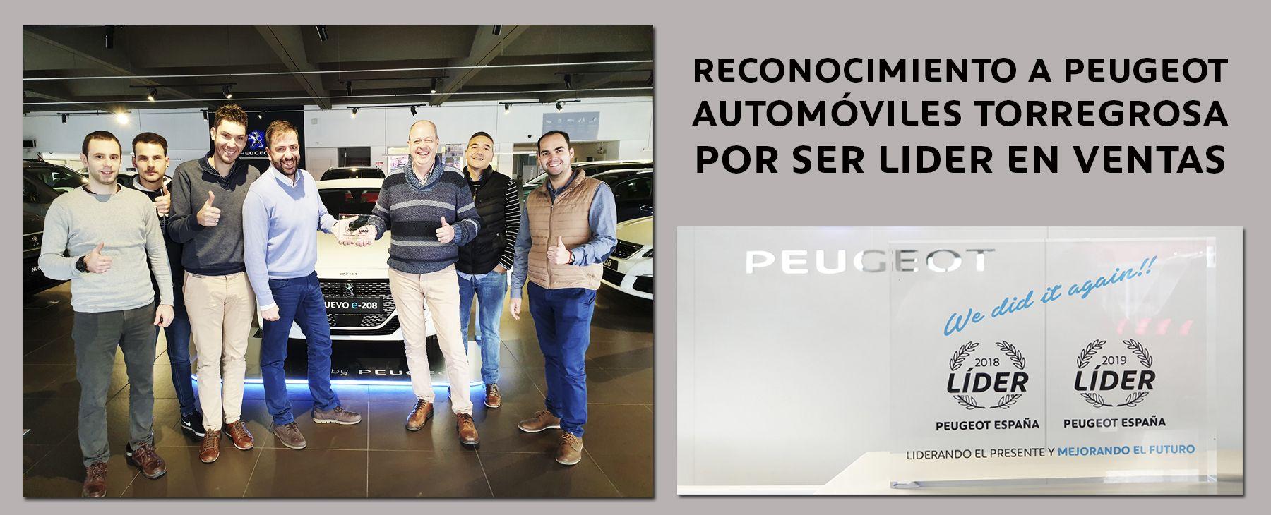 RECONOCIMIENTO A PEUGEOT AUTOMÓVILES TORREGROSA POR SER LIDER EN VENTAS