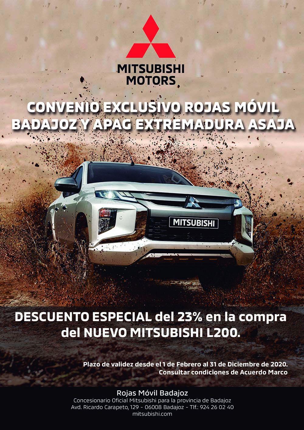 Convenio EXCLUSIVO Mitusbishi Rojas Móvil Badajoz con APAG EXTREMADURA ASAJA