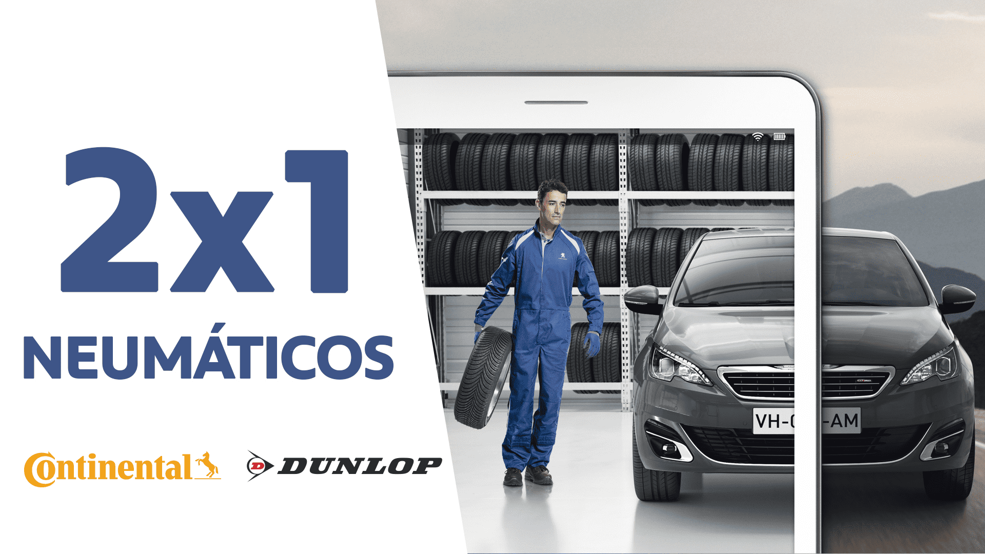 2X1 en neumáticos Dunlop & Continental