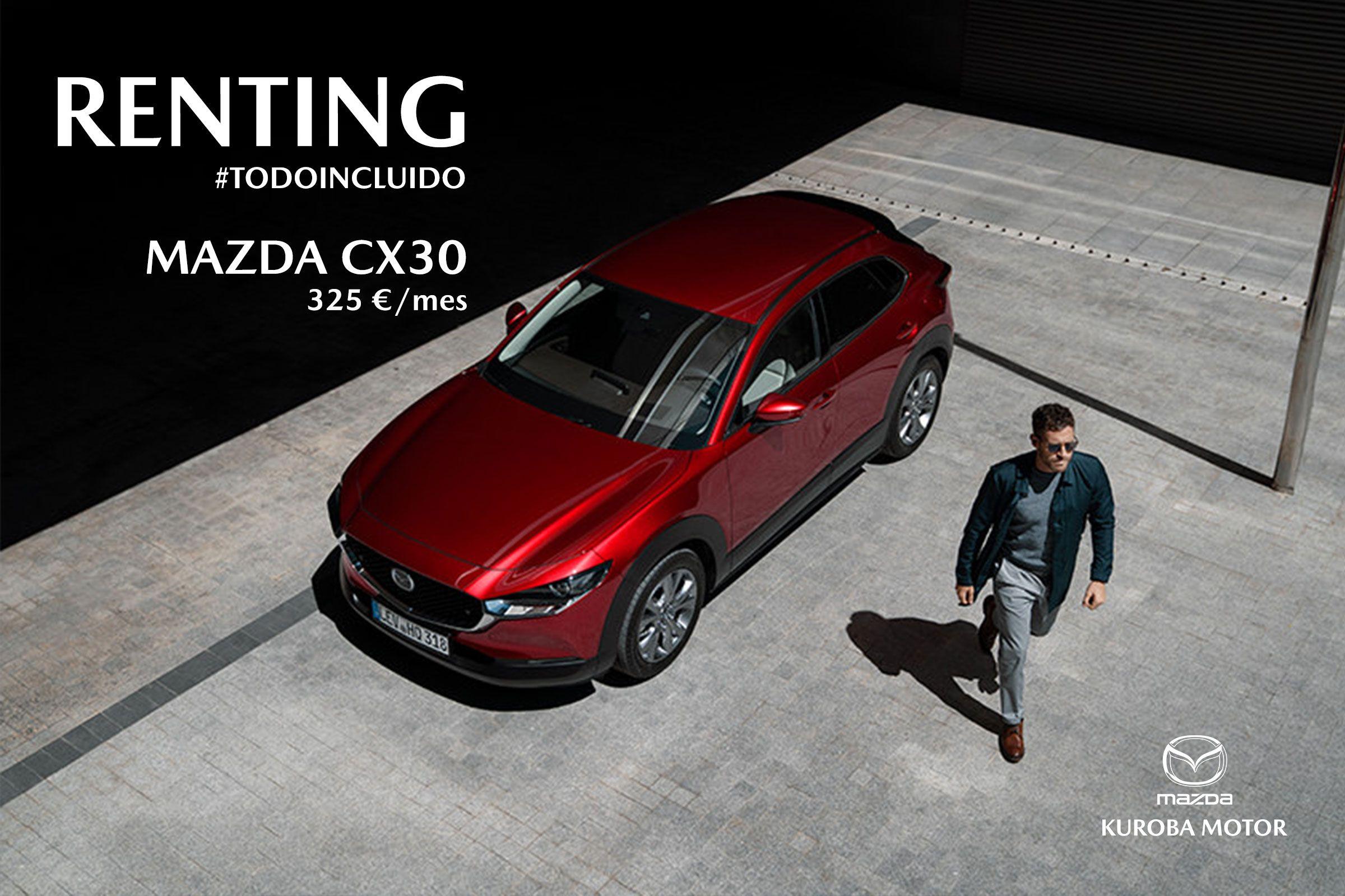 Llévate el nuevo Mazda CX30 de renting por 325€/mes ¡TODO INCLUIDO!
