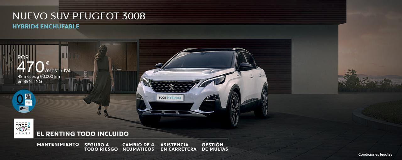 EL RENTING TODO INCLUIDO - NUEVO SUV PEUGEOT 3008 HÍBRIDO ENCHUFABLE
