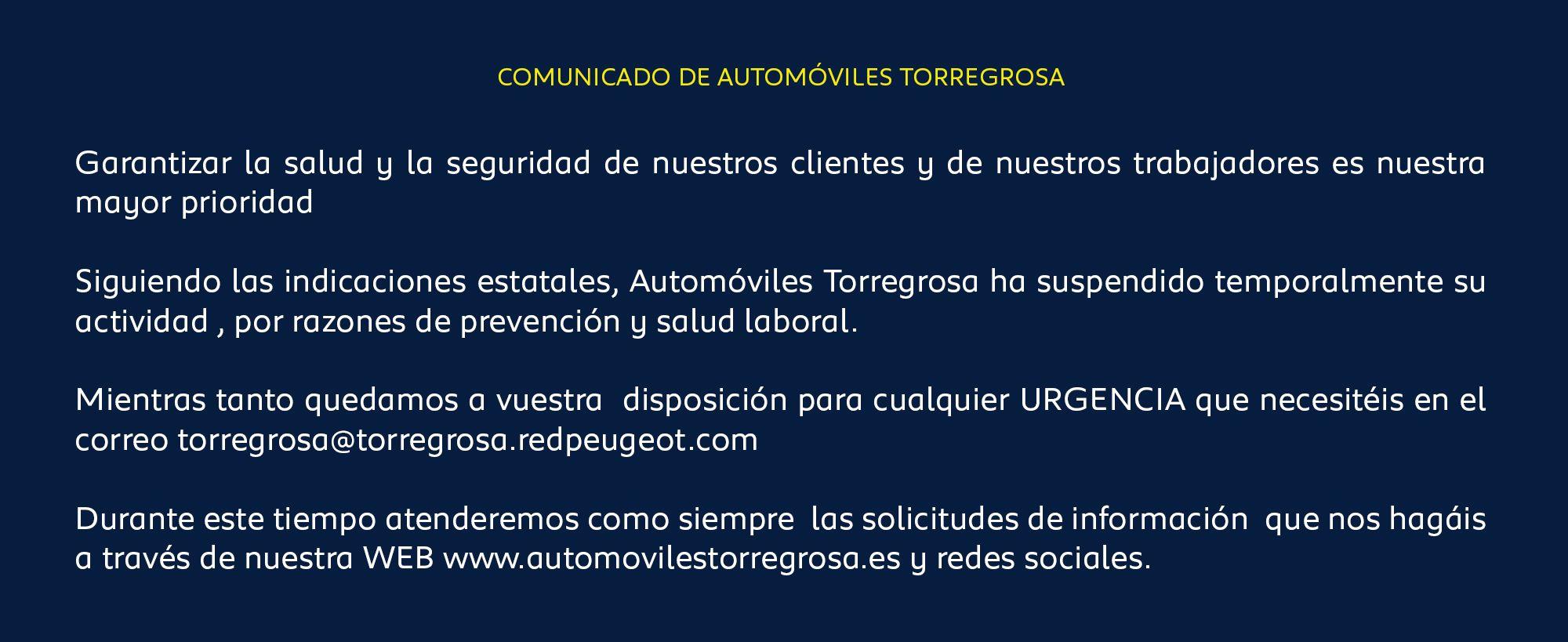 COMUNICADO DE AUTOMÓVILES TORREGROSA