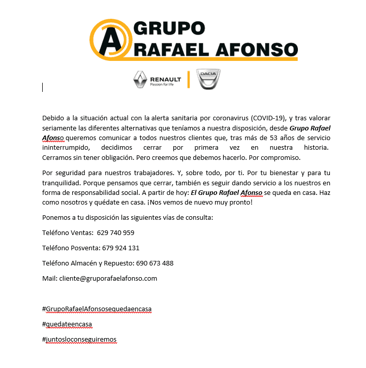 COMUNICADO DEL GRUPO RAFAEL AFONSO COVID-19